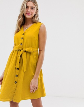 Pieces button tie front mini sundress