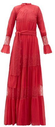 Luisa Beccaria Lace-panelled Tiered Chiffon Gown - Womens - Pink