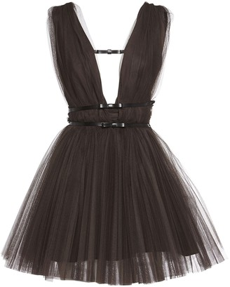 BROGNANO Tulle Mini Dress W/ Faux Leather Straps