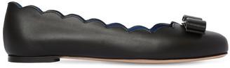 Salvatore Ferragamo 10mm Varina Shell Leather Flats