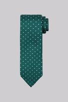 Moss Bros Green Textured Spot Silk Tie