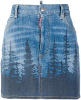 DSQUARED2 forest print mini denim skirt