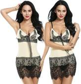 Avidlove Women Lingerie 2 Pieces Strap Sexy Lace Sleepwear Chemise Babydoll S