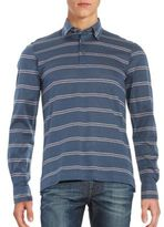 Brioni Striped Long Sleeve Polo