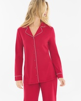 Soma Intimates Long Sleeve Notch Collar Pajama Top Ruby
