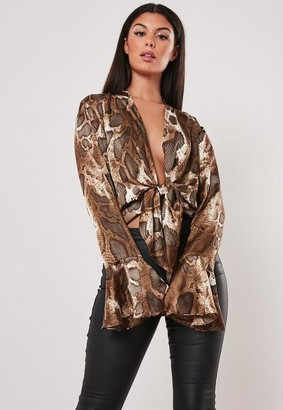 Missguided Brown Snake Print Knot Front Blouse
