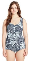 Maxine Of Hollywood Women's Plus-Size Wood Block Floral Leg One Piece Swimsuit