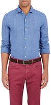 Finamore MEN'S PLAID SHIRT-BLUE SIZE M