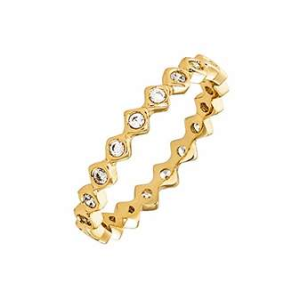 ELEGANT CONFETTI Women's 18K Yellow Gold Plated CZ Simulated Diamond Zig Zag Stackable Ring Size 8