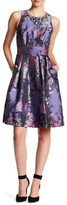 Eliza J Flower Brocade Jeweled Neckline Dress