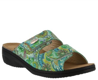 Spring Step Flexus by Leather Slide Sandals - Bellasa