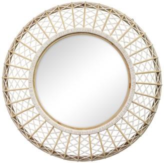 Stratton Home White/Natural Cassie Woven Rattan Wall Mirror
