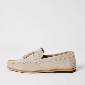 River Island Grey suede D-ring tassel loafers