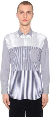Comme des Garçons Shirt Striped Patchwork Cotton Poplin Shirt