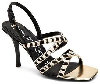 Calvin Klein Women's Sandals BLACK/WHITE - Black & White Zebra Strappy Miu Calf-Hair Sandal - Women