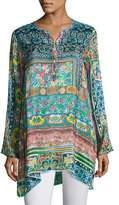 Johnny Was Frame Silk-Georgette Print Tunic, Multi, Plus Size