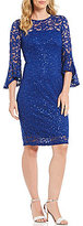 Marina Bell-Sleeve Sequin Lace Dress