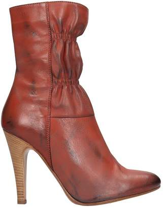 Marc Jacobs High Heels Ankle Boots In Red Leather