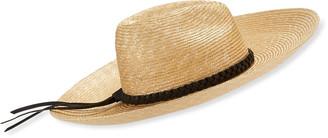 Saint Laurent Maxi Mexi Noir Large Brim Straw Hat