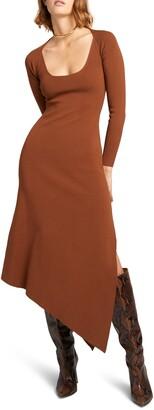 A.L.C. Harvey Long Sleeve Asymmetrical Hem Dress