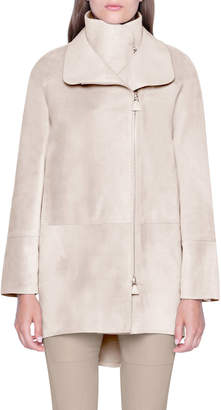 Akris Suede High-Low Midi Jacket