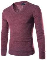 Bestgift Men's Long Sleeve Simple V-Neck Cotton Sweater L