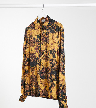 ASOS DESIGN Tall animal scarf print shirt in black and gold