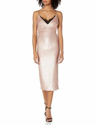 ABS by Allen Schwartz Women's Sequin Mid-Length Cocktail Dress Lingerie Detail at Neckline
