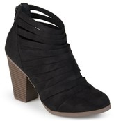 Brinley Co. Women's Chunky Heel Strappy Faux Suede Ankle Booties