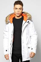 Boohoo Longline Parka Jacket With Faux Fur Trim