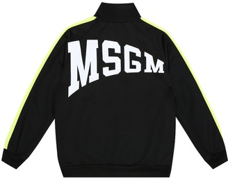 Msgm Kids Logo technical-jersey track jacket