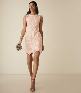 Reiss Roxanda - Lace Bodycon Dress in Blush