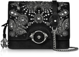 Roberto Cavalli Black Suede Large Crossbody Bag w/Embroidered Beads