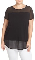 Vince Camuto Plus Size Women's Chiffon Inset Knit Top
