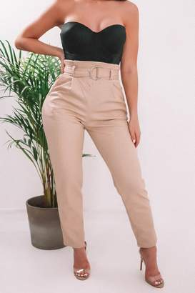 I SAW IT FIRST Neutral Snake Print D Ring Belted Trousers