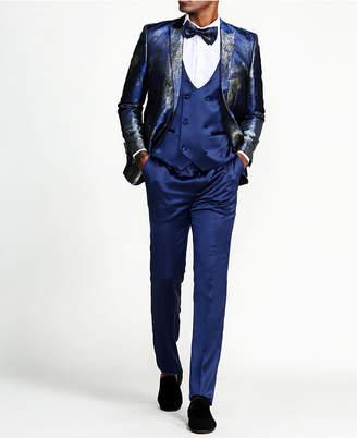 Tazzio Men Print Design Peak Lapel Slim Fit Suit