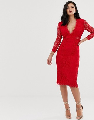Asos Design Long Sleeve Lace Midi Pencil Dress-Red