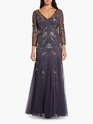 Adrianna Papell Beaded Long Dress, Gunmetal