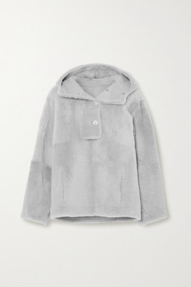 Yves Salomon Lacon Hooded Shearling Jacket - Light gray