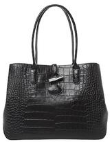 Longchamp Roseau Medium Croc Embossed Leather Tote