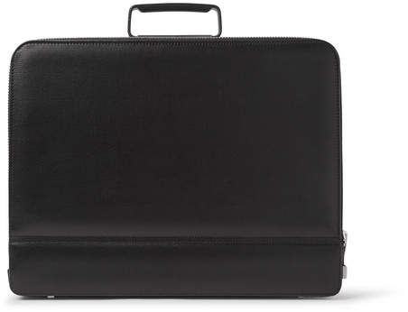 Valextra Premier Attache Pebble-Grain Leather Briefcase - Black