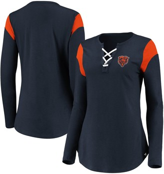 Women's NFL Pro Line by Fanatics Branded Navy Chicago Bears Iconic Lace-Up Long Sleeve T-Shirt