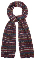 Red Herring Navy Jacquard Fairisle Knitted Scarf