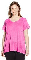 Calvin Klein Women's Plus Size Roll Sleeve Icy Wash Tee