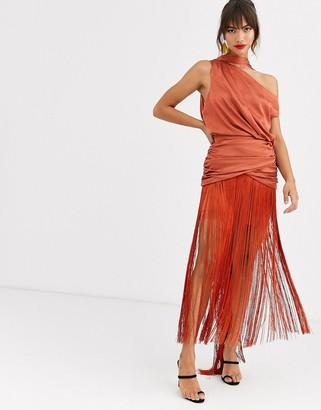 Asos Design DESIGN one shoulder fringe maxi dress with satin top-Brown
