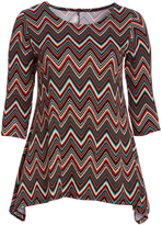 Glam Brown & Red Chevron Sidetail Tunic - Plus
