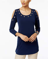 JM Collection Grommet Cold-Shoulder Top, Only at Macy's