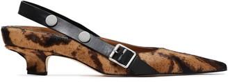 Victoria Beckham Leather-trimmed Studded Leopard-print Calf-hair Slingback Pumps