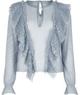 River Island Womens Blue mesh frill blouse