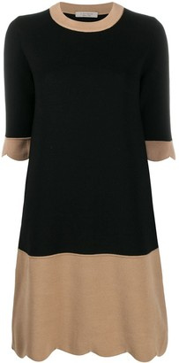D-Exterior Two-Tone Knitted Dress